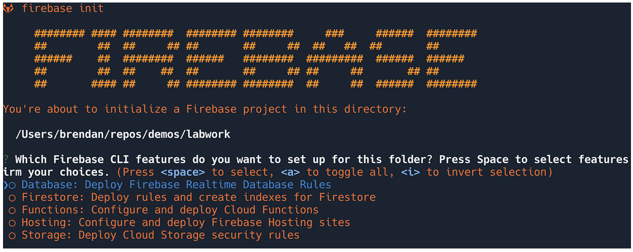 Output of firebase init command