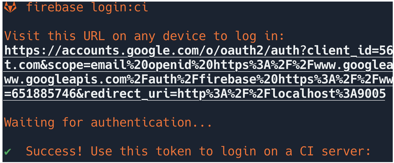 Output of firebase login:ci command