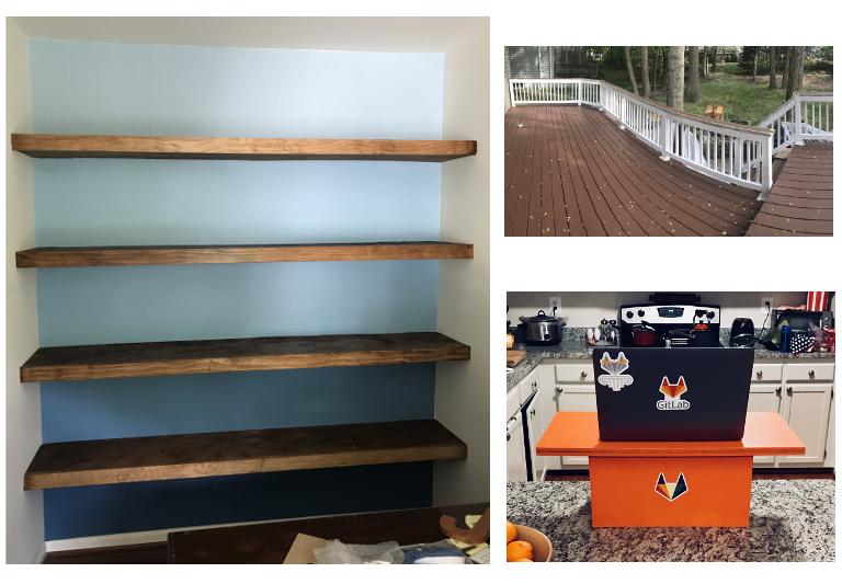 Clockwise, from left: built-in shelf wall, painted and stained deck, DIY standing desk